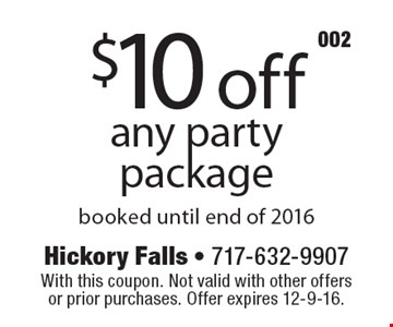 $10 off any party package booked until end of 2016. With this coupon. Not valid with other offers or prior purchases. Offer expires 12-9-16.