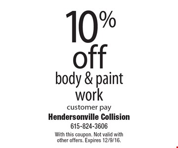 10% off body & paintwork customer pay. With this coupon. Not valid with other offers. Expires 12/9/16.