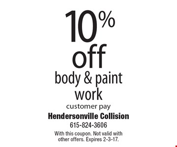 10% off body & paintwork customer pay. With this coupon. Not valid with other offers. Expires 2-3-17.