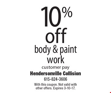 10% off body & paintwork customer pay. With this coupon. Not valid with other offers. Expires 3-10-17.