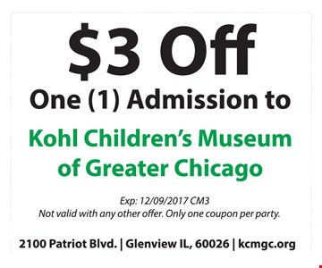 $3 Off One Admission to Kohl Children's Museum of Greater Chicago