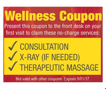 First Visit No-Charge Services Consultation, X-Ray (If Needed) & Therapeutic Massage