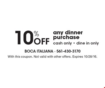 10% off any dinner purchase. Cash only. Dine in only. With this coupon. Not valid with other offers. Expires 10/28/16.