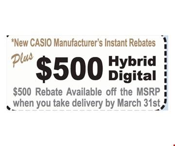 $500 rebate on hybrid digital