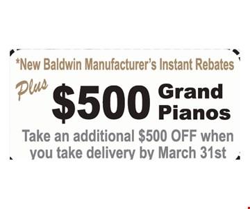 $500 rebate on grand pianos