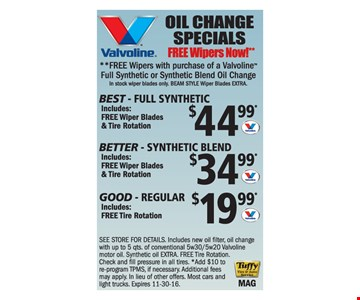 Oil Change Specials Free Wipers Now