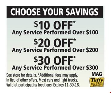 $10 Off Over $100, $20 Off Over $200 and $30 Off Over $300