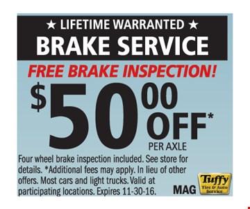 Free Brake Inspection $50 Off Per Axle