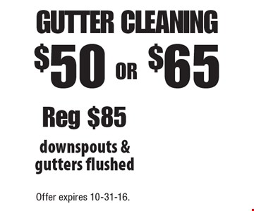 $50 or $65 gutter cleaning. Downspouts & gutters flushed. Reg $85. Offer expires 10-31-16.