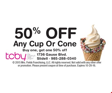 50% Off Any Cup Or Cone Buy one, get one 50% off.  2015 Mrs. Fields Franchising, LLC. All rights reserved. Not valid with any other offer or promotion. Please present coupon at time of purchase. Expires 10-28-16.