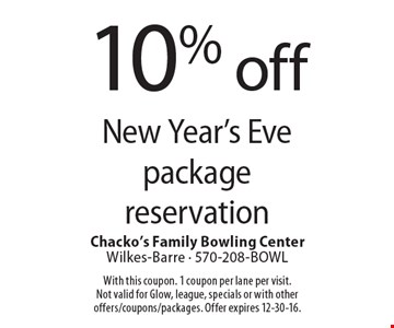 10% off New Year's Eve package reservation. With this coupon. 1 coupon per lane per visit. Not valid for Glow, league, specials or with other offers/coupons/packages. Offer expires 12-30-16.