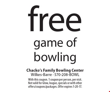 Free game of bowling. With this coupon. 1 coupon per person, per visit.Not valid for Glow, league, specials or with other offers/coupons/packages. Offer expires 1-20-17.