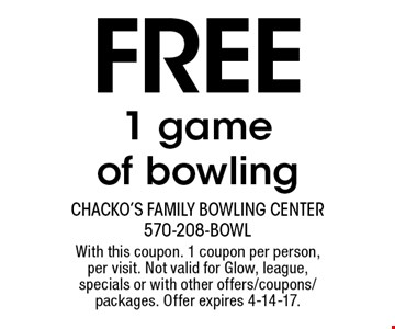 Free 1 game of bowling. With this coupon. 1 coupon per person, per visit. Not valid for Glow, league, specials or with other offers/coupons/packages. Offer expires 4-14-17.