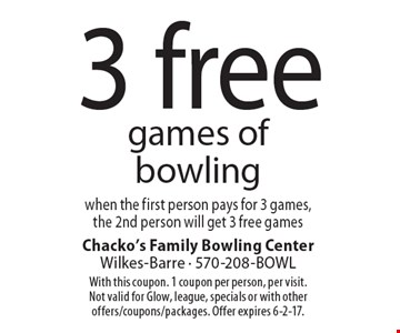 3 free games of bowling when the first person pays for 3 games,the 2nd person will get 3 free games. With this coupon. 1 coupon per person, per visit. Not valid for Glow, league, specials or with other offers/coupons/packages. Offer expires 6-2-17.