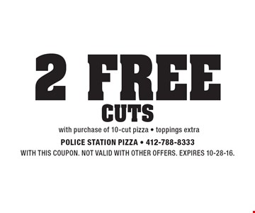 2 free cuts with purchase of 10-cut pizza, toppings extra. With this coupon. Not valid with other offers. Expires 10-28-16.