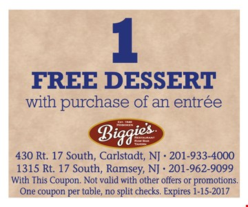1 free dessert with purchase of entree. With this coupon. Not valid with other offers or promotions. One coupon per table, no split checks. Expires 1-15-17