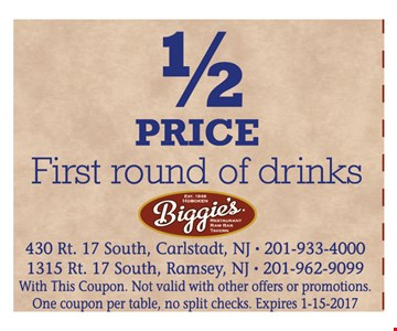 1/2 Price First Round Of Drinks