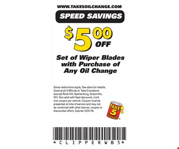 $5.00 off set of wiper blades