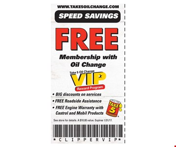 Free membership with oil change
