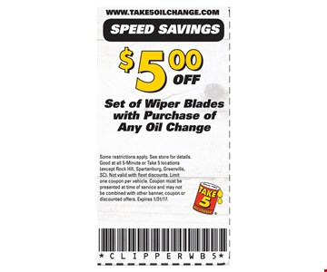 $5 off set of wiper blades with purchase of any oil change