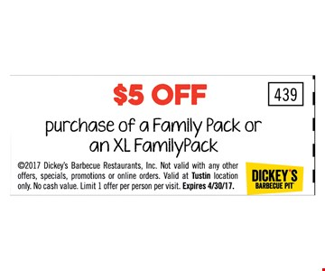 $5 OFF purchase of a family pack or an XL familypack Not valid with any other offers, specials, promotions or online orders. valid at Trustin location only. limit one per person per visit