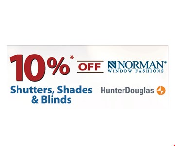 10% Off Shutters, Shades & Blinds