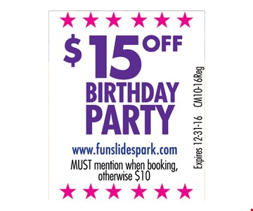 $15 Off Birthday Party
