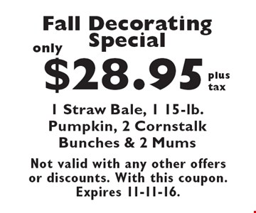 Fall Decorating Special. Only $28.95 plus tax. 1 Straw Bale, 1 15-lb. Pumpkin, 2 Cornstalk Bunches & 2 Mums. Not valid with any other offers or discounts. With this coupon. Expires 11-11-16.