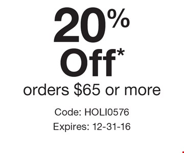 20% Off* orders $65 or more. Code: HOLI0576. Expires: 12-31-16 Cannot be combined with any other offer. Restrictions may apply. See store for details. Edible®, Edible Arrangements®, the Fruit Basket Logo, and other marks mentioned herein are registered trademarks of Edible Arrangements, LLC. © 2016 Edible Arrangements, LLC. All rights reserved.