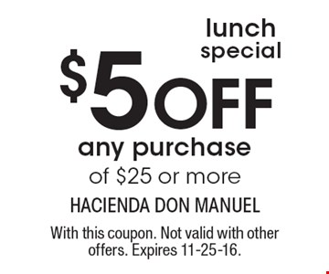 Lunch special. $5 Off any purchase of $25 or more. With this coupon. Not valid with other offers. Expires 11-25-16.