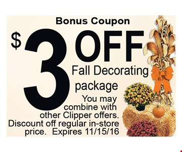 $3 Off Fall Decorating Package