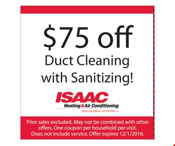 $75 Off Duct Cleaning With Sanitizing
