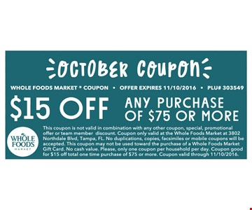 $15 off any purchase of $75 or more
