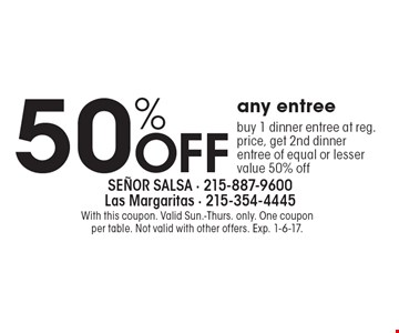 50% off any entree. Buy 1 dinner entree at reg. price, get 2nd dinner entree of equal or lesser value for 50% off. With this coupon. Valid Sun.-Thurs. only. One coupon per table. Not valid with other offers. Exp. 1-6-17.