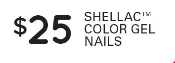 $25 Shellac color gel nails.