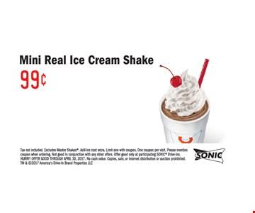 Mini real ice cream shake .99