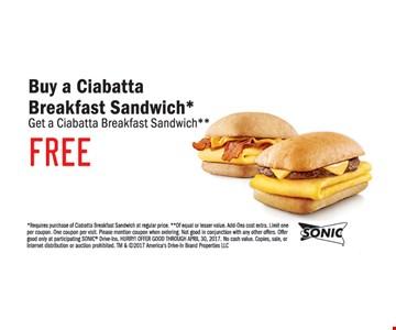 Free ciabatta breakfast sandwich