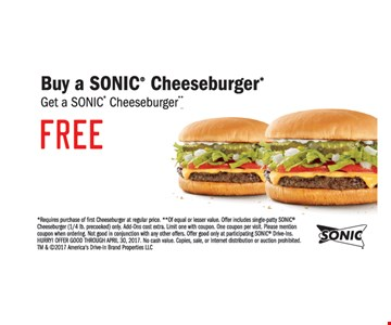 Buy a sonic cheeseburger get one free