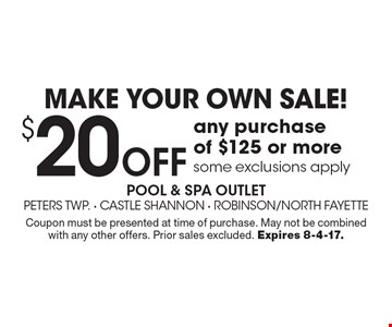 MAKE YOUR OWN SALE! $20 off any purchase of $125 or more some exclusions apply. Coupon must be presented at time of purchase. May not be combined with any other offers. Prior sales excluded. Expires 8-4-17.