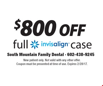 $800 off full invisalign case. New patient only. Not valid with any other offer. Coupon must be presented at time of use. Expires 2/28/17.