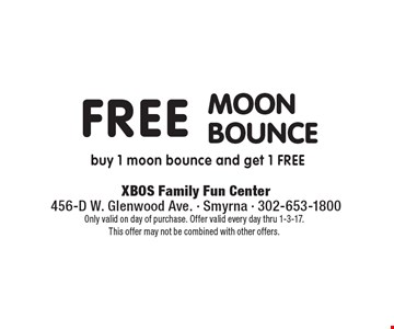 Free moon bounce – buy 1 moon bounce and get 1 free. Only valid on day of purchase. Offer valid every day thru 1-3-17. This offer may not be combined with other offers.