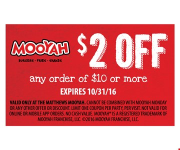 $2 off any order of $10 or more