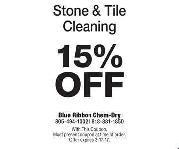 15% Off Stone & Tile Cleaning. With This Coupon. Must present coupon at time of order. Offer expires 3-17-17.