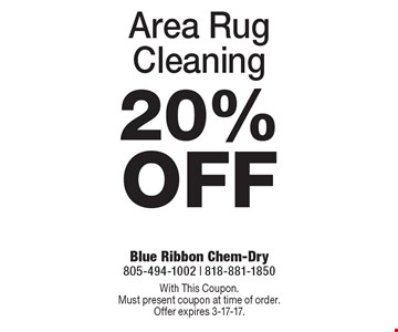 20% Off Area Rug Cleaning. With This Coupon. Must present coupon at time of order. Offer expires 3-17-17.