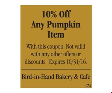 10% Off Any Pumpkin Item