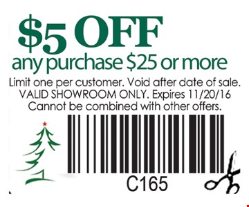 $5 off any purchase $25 or more