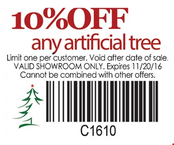 10% off any artificial tree