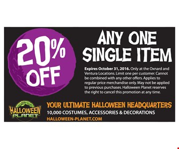 20% off any one single item