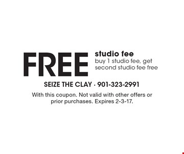 Free studio fee, buy 1 studio fee, get second studio fee free. With this coupon. Not valid with other offers or prior purchases. Expires 2-3-17.