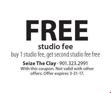 FREE studio feebuy 1 studio fee, get second studio fee free. With this coupon. Not valid with other offers. Offer expires 3-31-17.